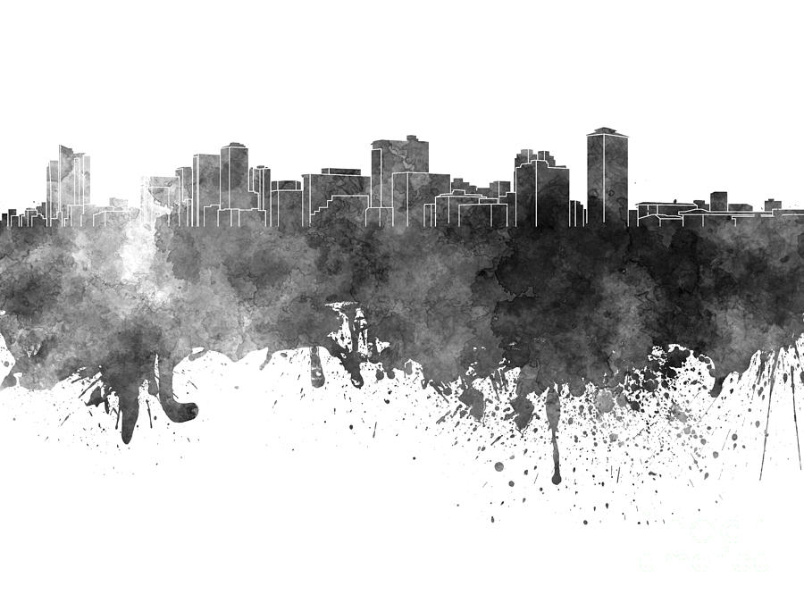 Manila Skyline In Black Watercolor On White Background Painting by