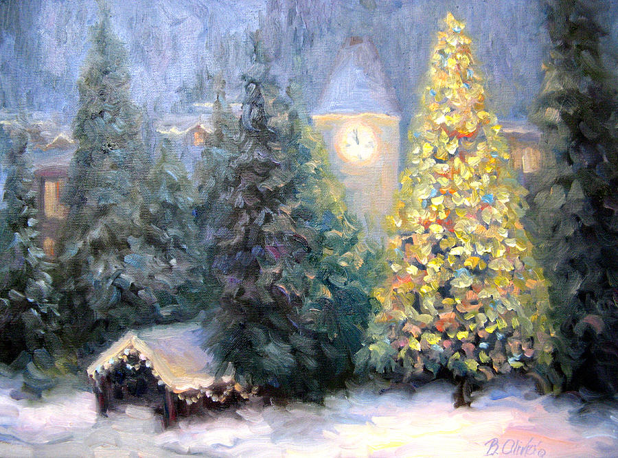 Snow Falling Wallpaper For Ipad Merry Christmas From Vail Painting By Bunny Oliver