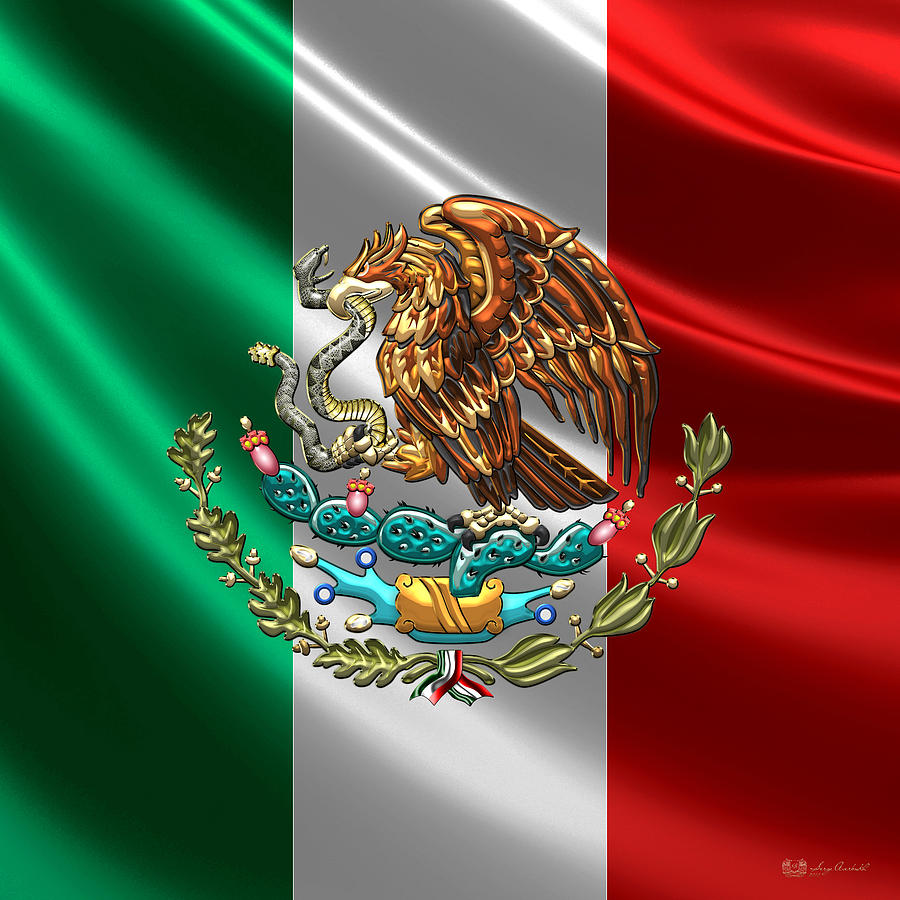 Arte Of Mexico Mexico Coat Of Arms Over Flag By Serge Averbukh