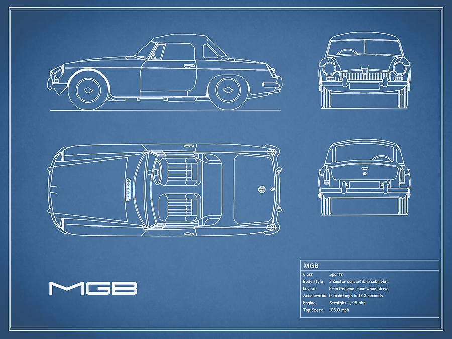 Mgb Blueprint Photograph by Mark Rogan - best of blueprint drawings of audi r8