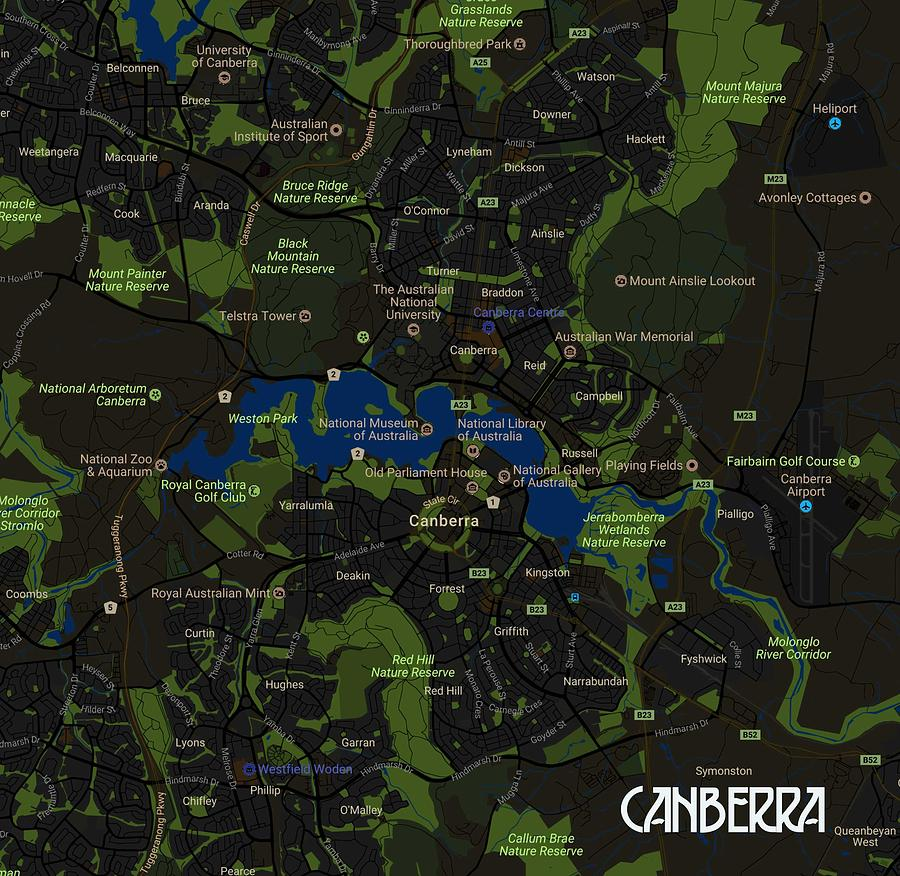 Map Of Canberra Minimalist Modern Map Of Canberra Australia A By Celestial Images