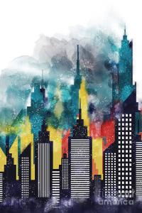 Modern City Buildings And Skyscrapers Watercolor, New York ...