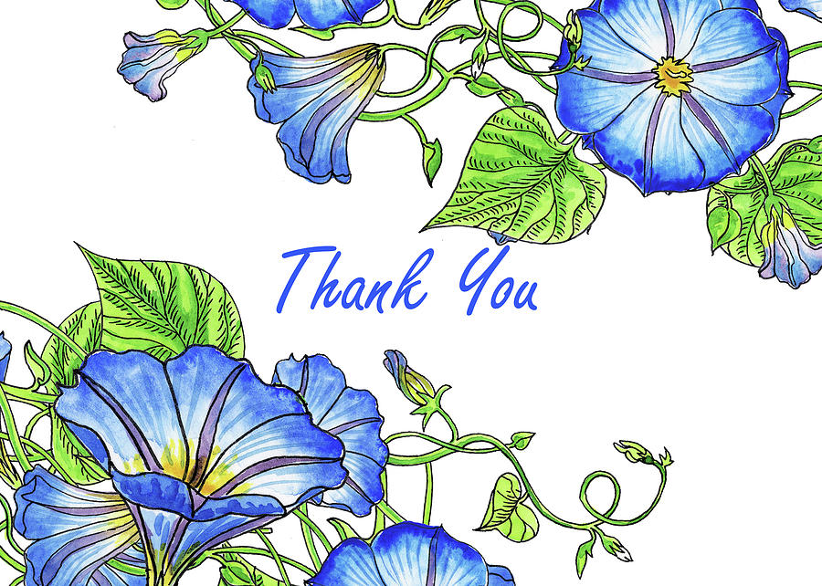 Morning Glory Watercolor Thank You Card Design Painting by Irina