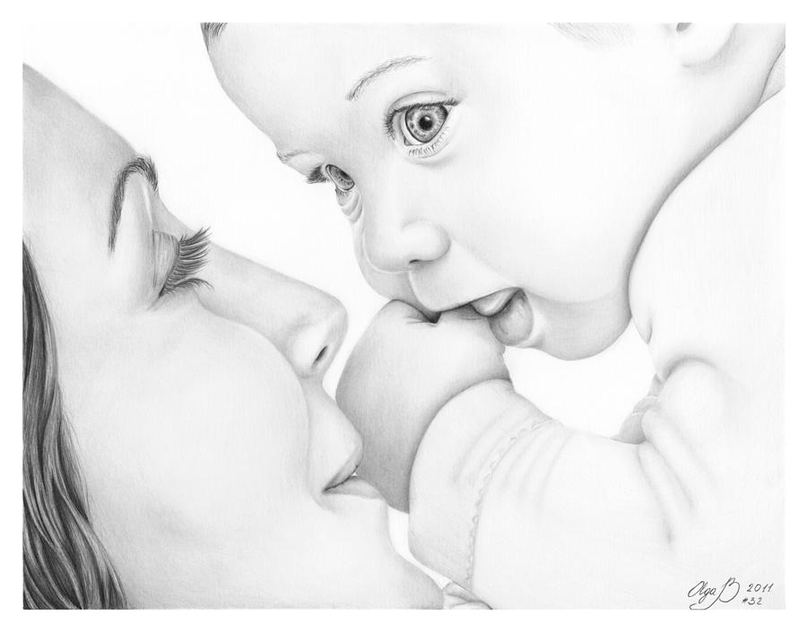 Mother And Baby Drawing by Olga Bell