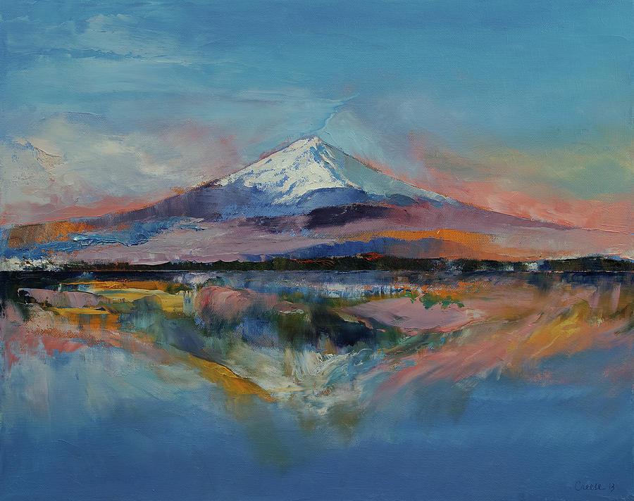 Mount Fuji Wallpaper Iphone Mount Fuji Painting By Michael Creese