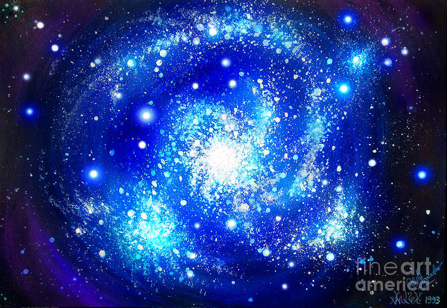 Cute Wallpapers Ipad App Neon Blue Galaxy Bright Stars Painting By Sofia Metal Queen
