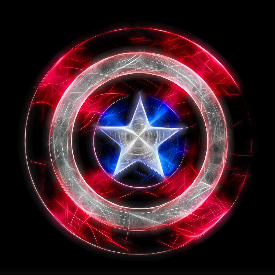 Chargers Iphone Wallpaper Neon Captain America Shield Digital Art By Dan Sproul