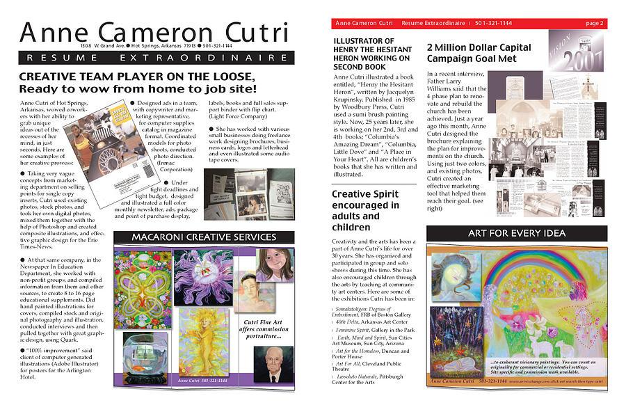 Newsletter Format Resume Digital Art by Anne Cameron Cutri - Newsletter Format
