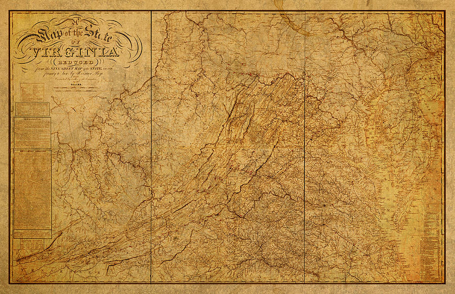 Vintage Map Iphone Wallpaper Old Map Of Virginia State Schematic Circa 1859 On Worn