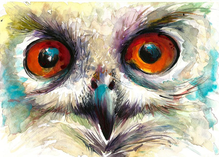 Owl Eyes Detail Painting By Tiberiu Soos