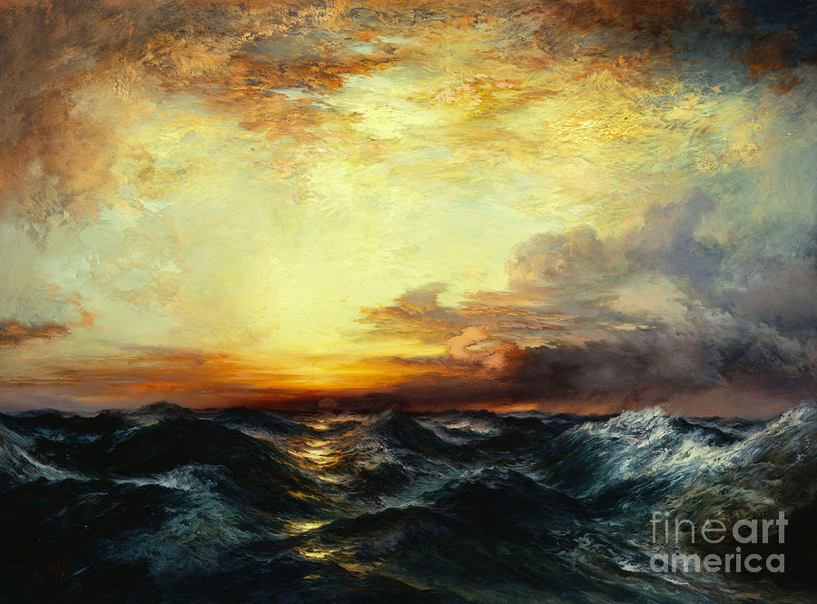 Iphone Wave Wallpaper Pacific Sunset Painting By Thomas Moran