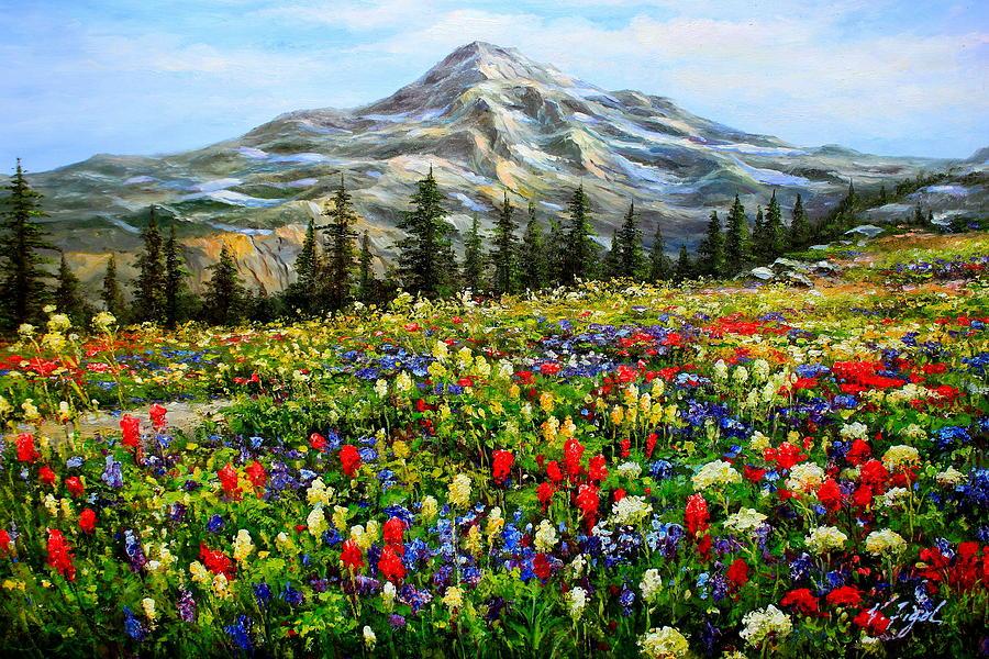 Chargers Iphone Wallpaper Paradise Mount Rainier Washington Painting By Roman Roma