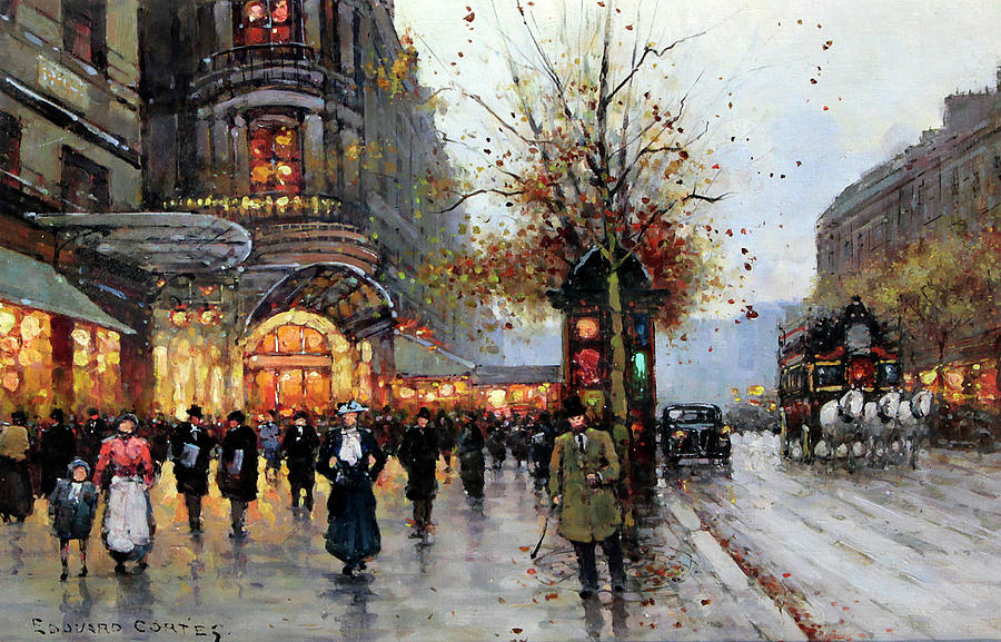 Paris Street Scene Painting By Edouard Cortes