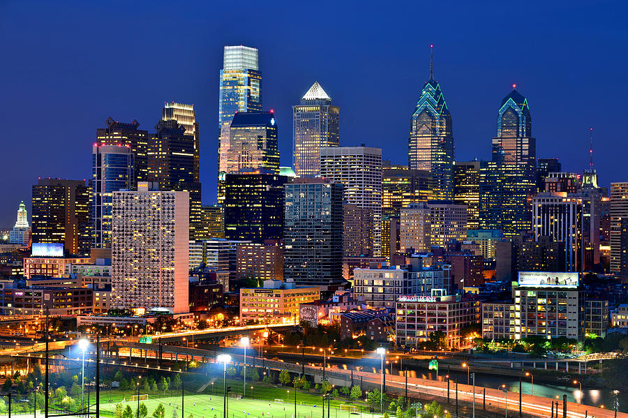 Boston Hd Wallpaper Philadelphia Skyline At Night Photograph By Jon Holiday
