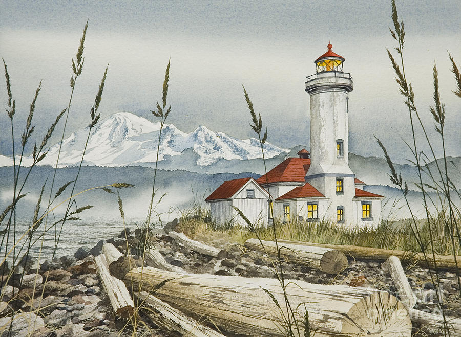 Fall Cabin Wallpaper Point Wilson Lighthouse Painting By James Williamson