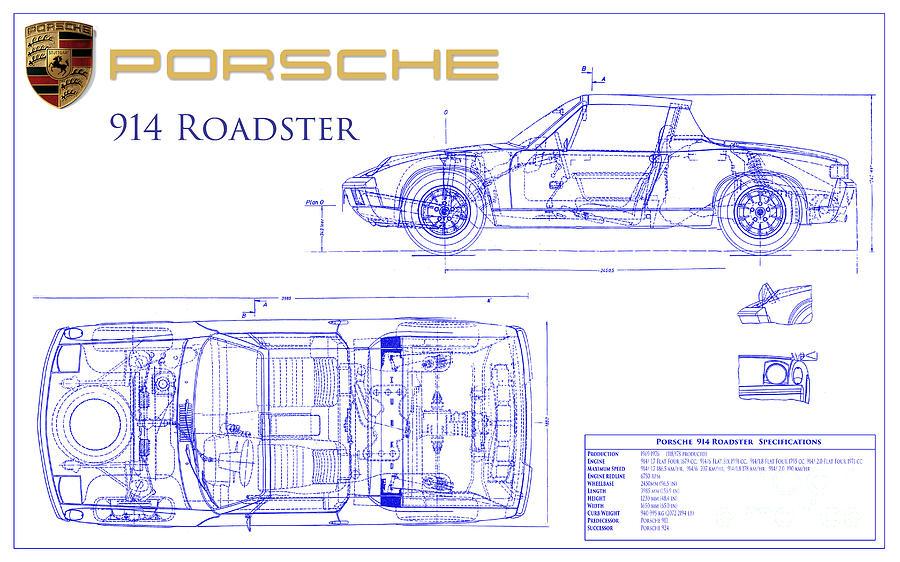 Porsche 914 Blueprint Photograph by Jon Neidert