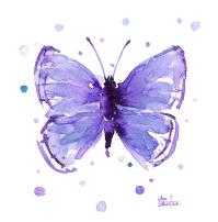 Purple Abstract Butterfly Painting by Olga Shvartsur