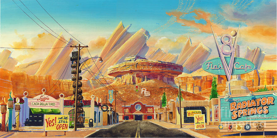 Hd Wallpaper Dimensions Radiator Springs Painting By Martin Arriola