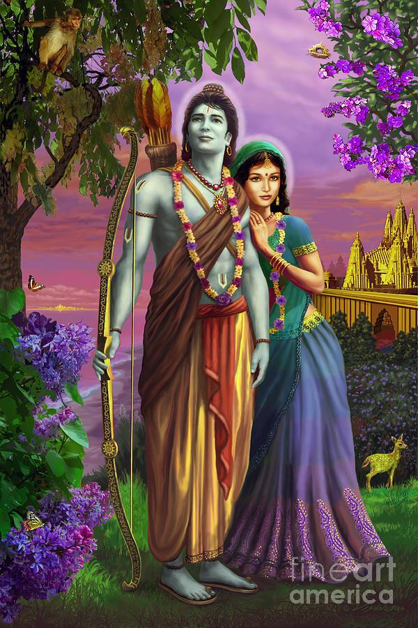 Hanuman Animated Wallpaper Rama And Sita Mixed Media By Vishnudas Art