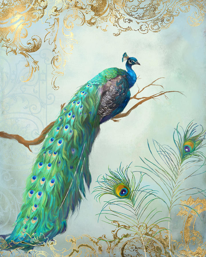 Stylish Cute Wallpapers Hd Regal Peacock 1 On Tree Branch W Feathers Gold Leaf