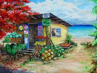 Rosies Beach Cafe Painting by Karin Dawn Kelshall- Best