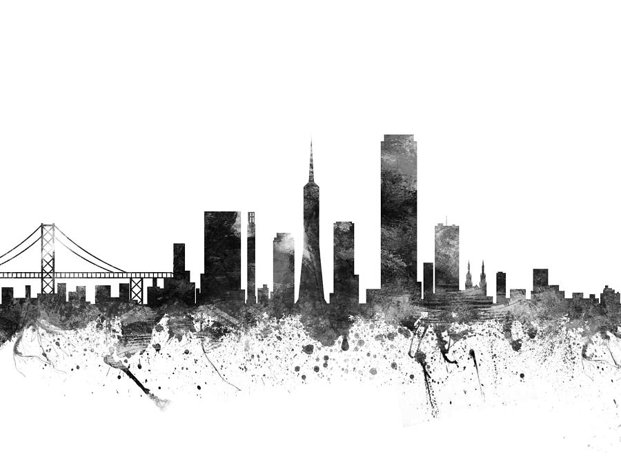 Brooklyn Bridge Wallpaper Black And White San Francisco California Cityscape 02bw Drawing By Aged Pixel