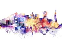 San Francisco Skyline Watercolor Painting by Dim Dom
