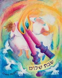 Shabbat Candle-lighting Painting by Chana Helen Rosenberg