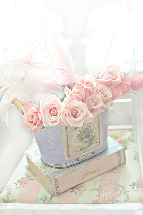 Shabby Chic Pink Roses On Paris Books Romantic Dreamy - Shabby Chic Bilder