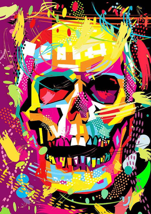 Badass Iphone Wallpaper Skull Pop Art Dope Digital Art By Ahmad Nusyirwan
