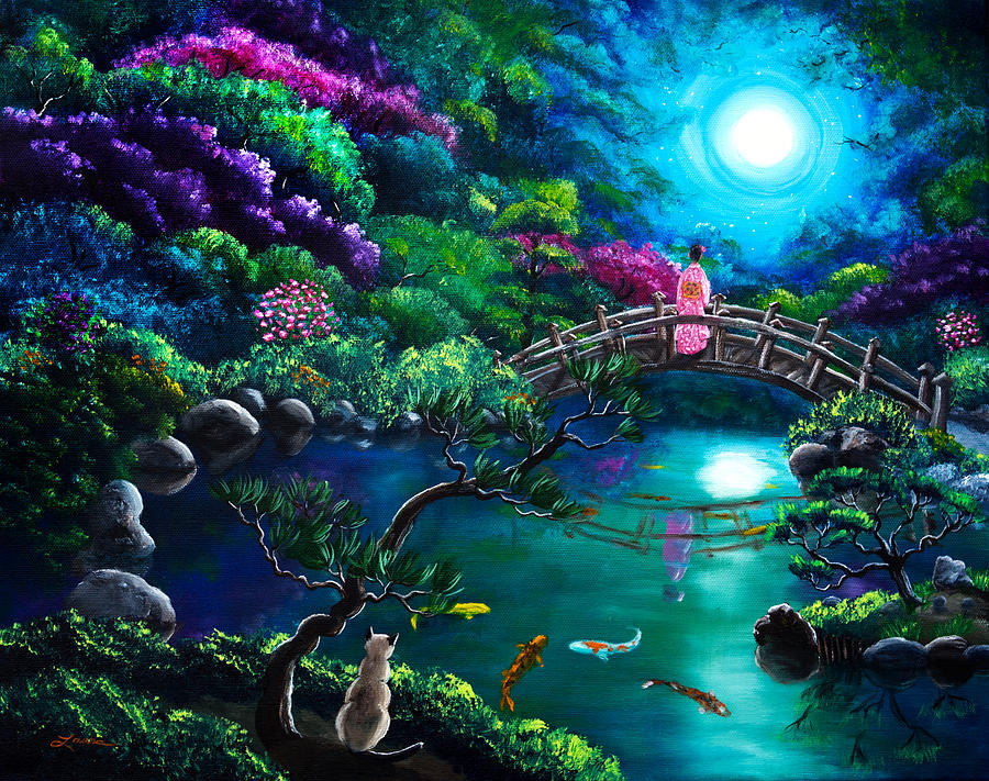 3d Wallpaper Lavender Star Gazing On Moon Bridge Painting By Laura Iverson