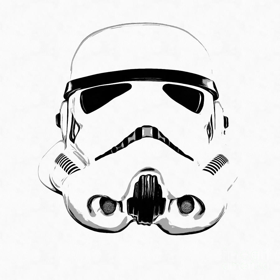 Shelf Wallpaper Iphone Star Wars Stormtrooper Helmet Graphic Drawing Drawing By