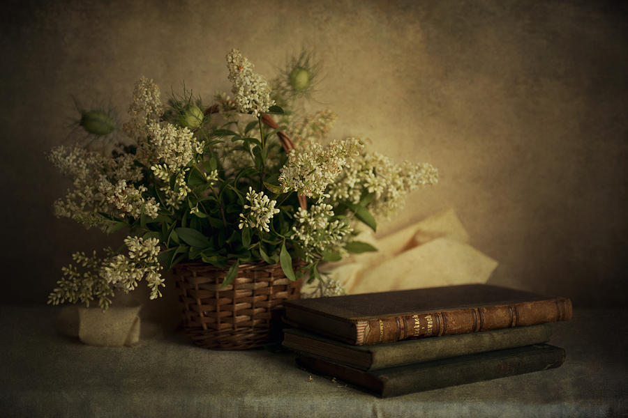Cute Wallpaper Phone Case Still Life With Old Books And White Flowers In The Basket