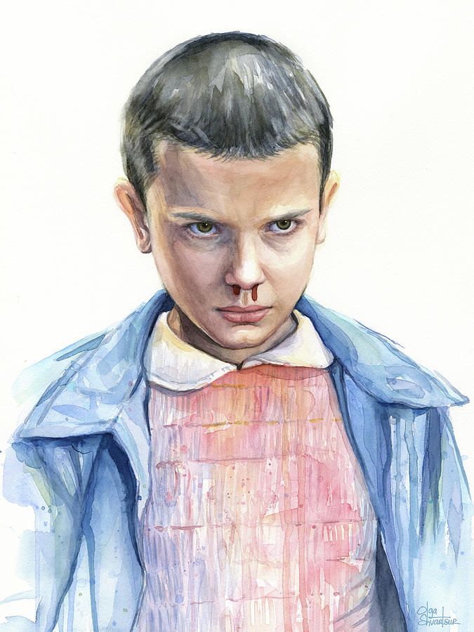 Chargers Iphone Wallpaper Stranger Things Eleven Portrait Painting By Olga Shvartsur