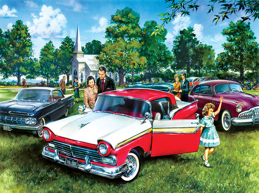 Classic Muscle Car Mobile Wallpaper Sunday Church Painting By Dan Hatala