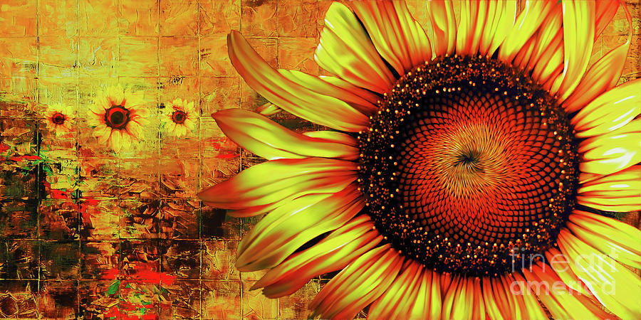 Sunflowers Abstract Painting By Gull G