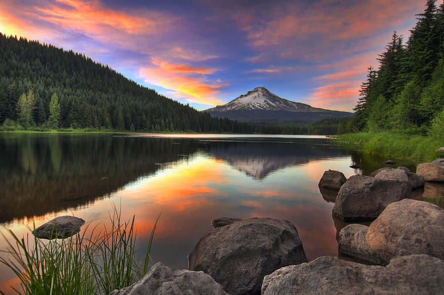 Serene Wallpapers Large Fall Sunset At Trillium Lake With Mount Hood Photograph By David Gn