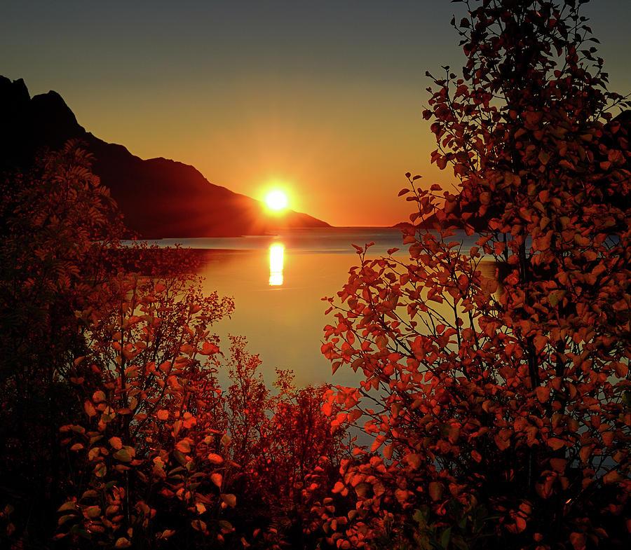 Fall Sunrise Wallpaper Sunset In Ersfjordbotn Photograph By John Hemmingsen