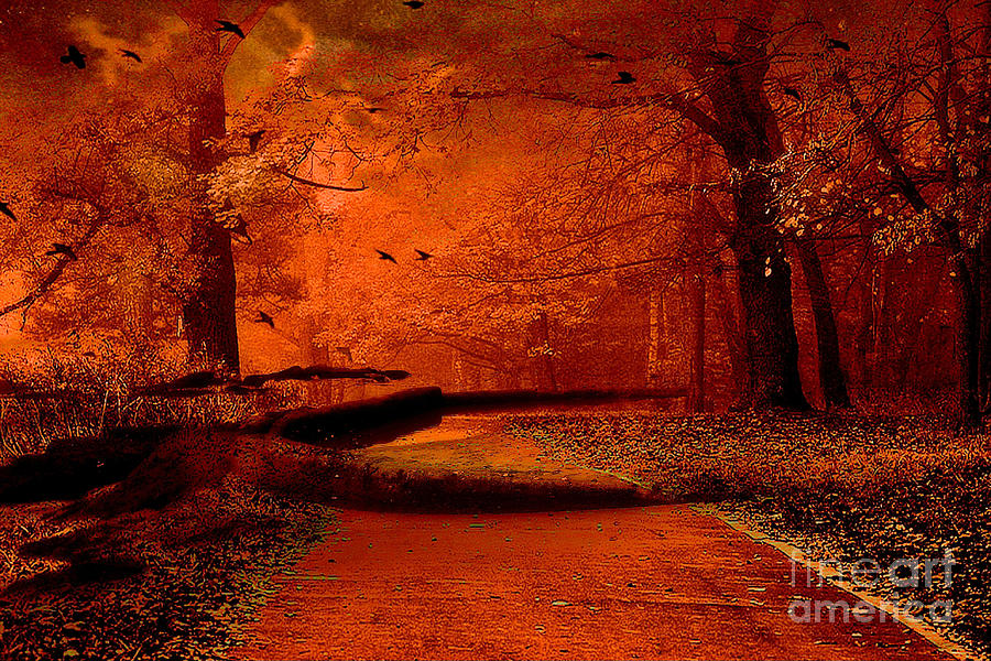 Serene Wallpapers Large Fall Surreal Fantasy Autumn Fall Orange Woods Nature Forest