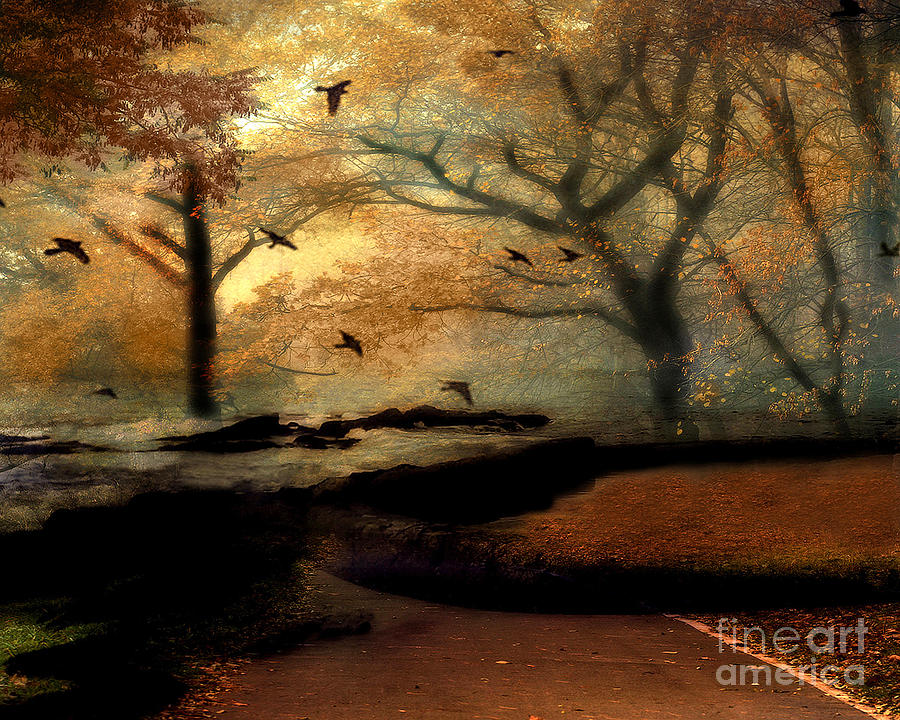 Fall Pumpkin Iphone Wallpaper Surreal Fantasy Haunting Autumn Trees Ravens Photograph By