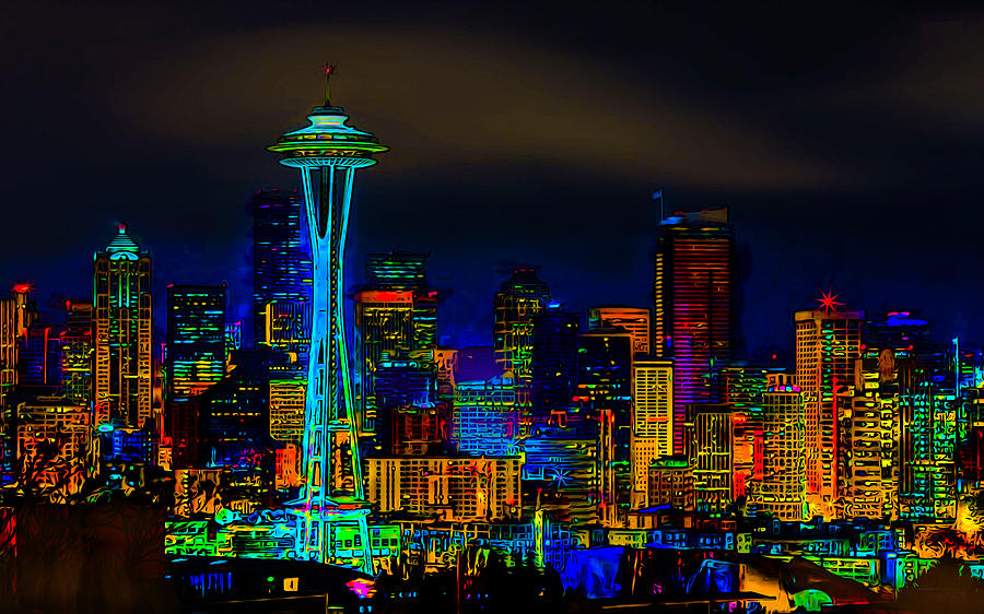 Wallpaper Images Of Mountains In Fall Surreal Seattle Skyline Photograph By Ron Fleishman