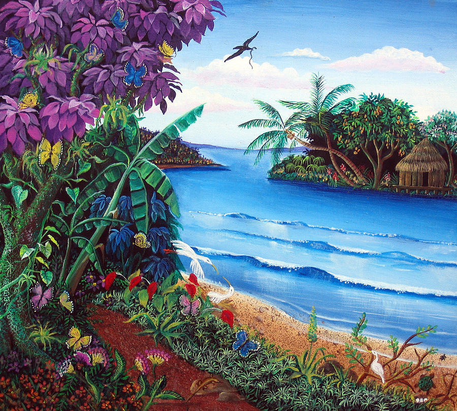 Chargers Iphone Wallpaper Tropical Paradise Painting By Sarah Hornsby