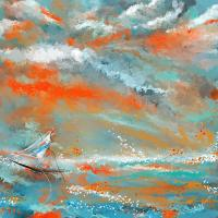 Turquoise Sail - Orange And Turquoise Abstract Art ...