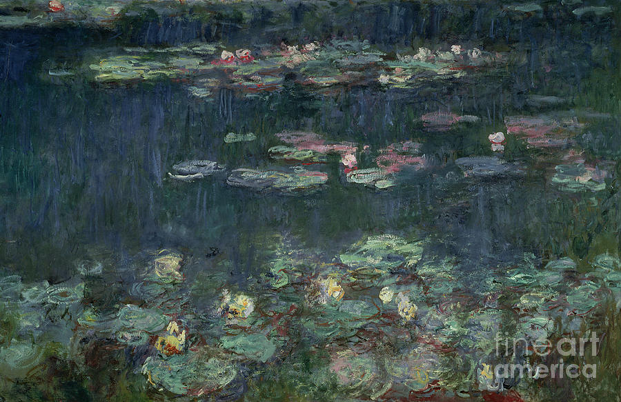 Famous Paintings Wallpaper Iphone Waterlilies Green Reflections Painting By Claude Monet