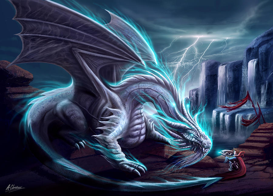 Yugioh Iphone Wallpaper White Lightning Dragon Painting By Anthony Christou