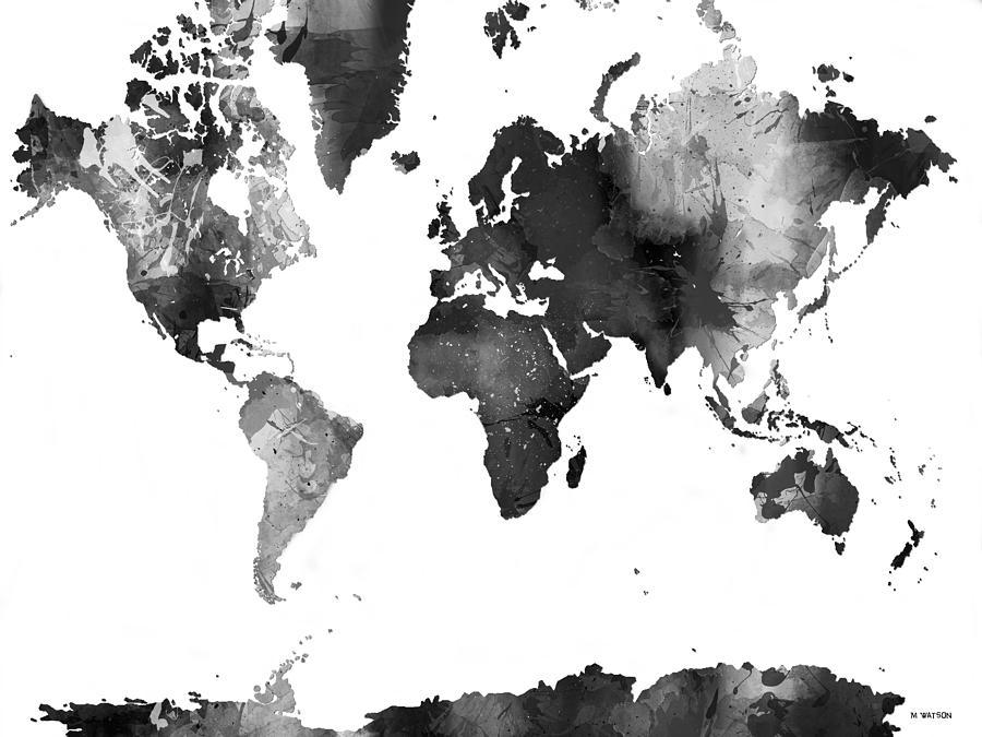 World Map In Black And White Digital Art by Marlene Watson