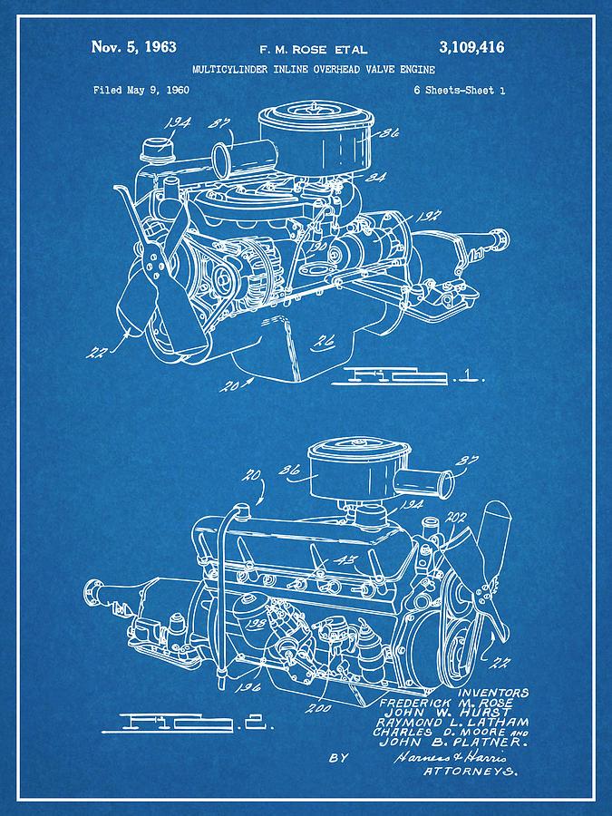 1960 Chrysler 220 Slant Six Engine Blueprint Patent Print Drawing by
