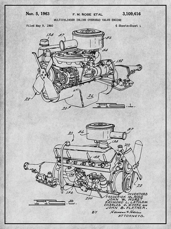 1960 Chrysler 220 Slant Six Engine Gray Patent Print Drawing by