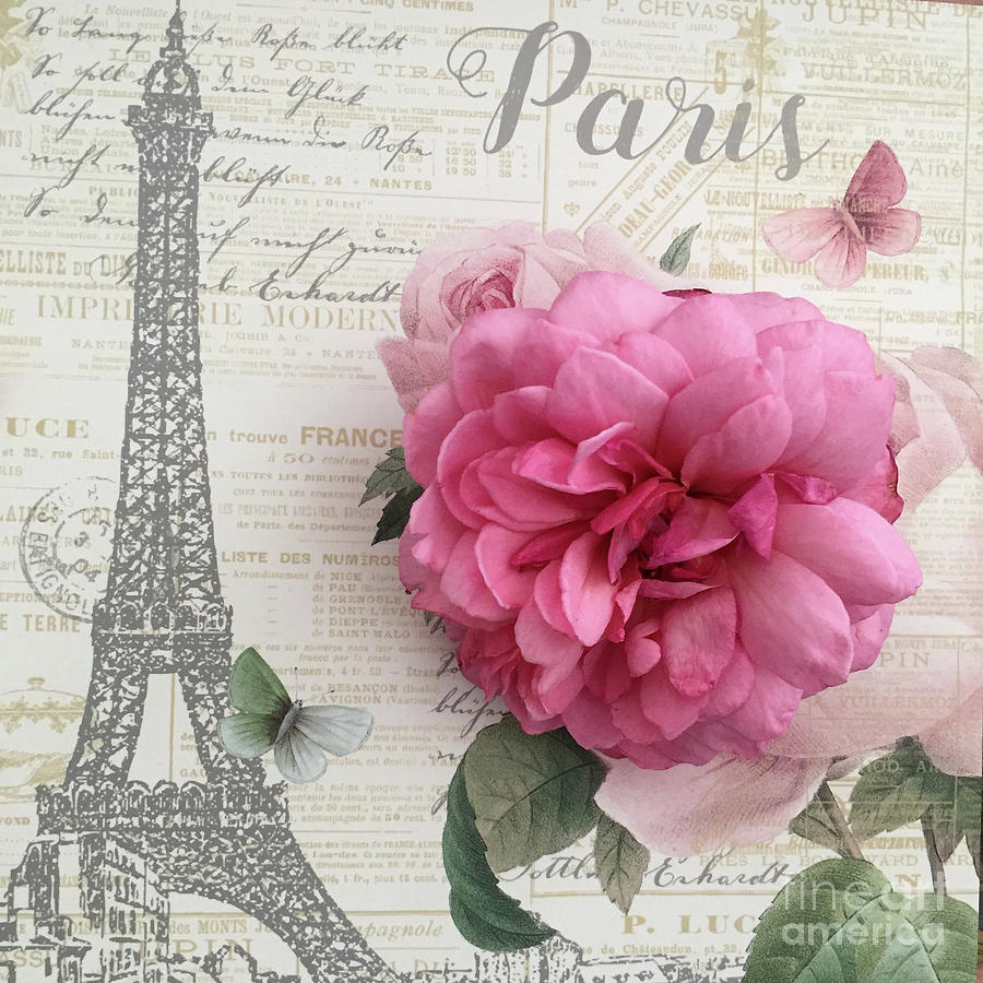 Shabby Chic Paris Eiffel Tower Romantic Rose Floral French Script Shabby Chic Paris Decor By Kathy Fornal