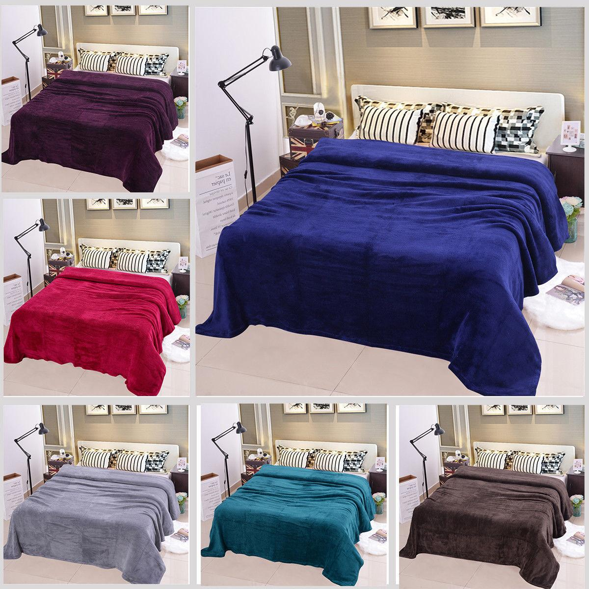 Sofa King Queen Solid Plush Fleece Blanket For Sofa Bed Soft